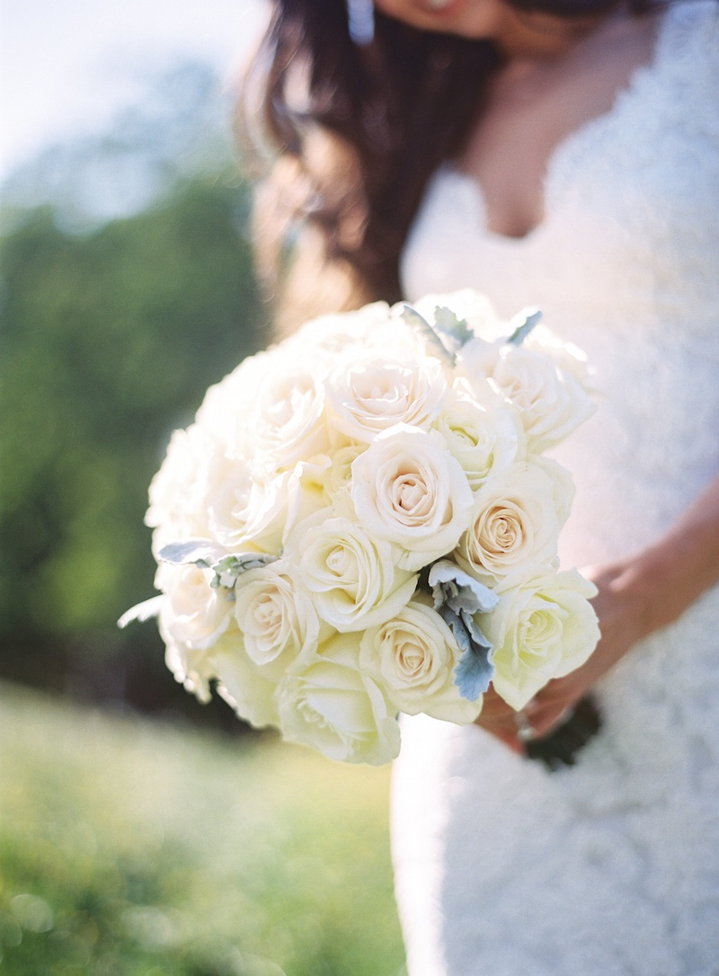 Rustic wedding bouquet with roses and