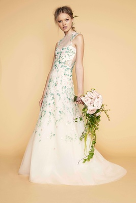 Sabrina Dahan high neck illusion wedding dress sheer cutout and neck with flower print embroidery