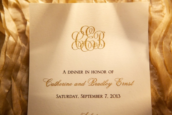 Wedding menu card with glitter gold monogram and names