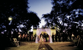 Outdoor Miami ceremony with white canopy
