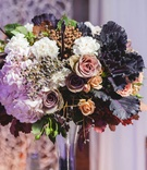 colorful floral centerpiece fall autumn wedding reception styled shoot fake black white flowers rose