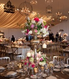 peonies roses hydrangeas tall centerpiece romantic candles tablescape