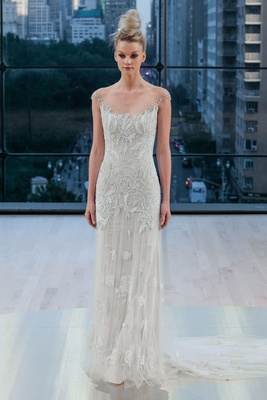 """Dakota"" Ines Di Santo fall 2018 godet skirt embellishments illusion cap sleeve neckline wedding"