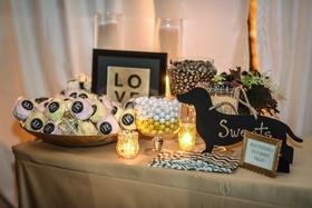 wedding sweets table with silhouette dachshund sign Train bassist Hector Maldonado wedding