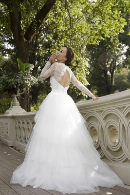 Actress Cara Santana Keyhole Back Fenton Amsale Elegant Lace Sleeves Wedding Dress