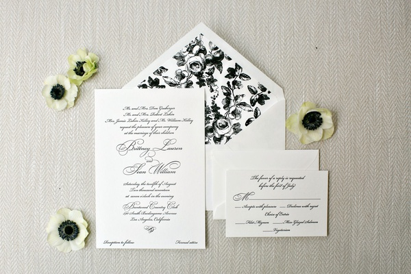 Wedding invitation rsvp card and invite black and white flower envelope liner sophisticated