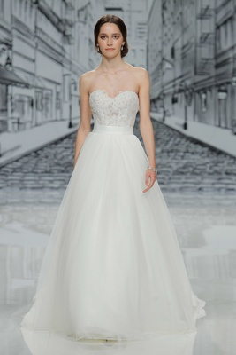 Justin Alexander Spring Summer 2017 strapless wedding dress with corset bodice and tulle skirt