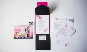 Photo save the date and pink cherry blossom wedding invite