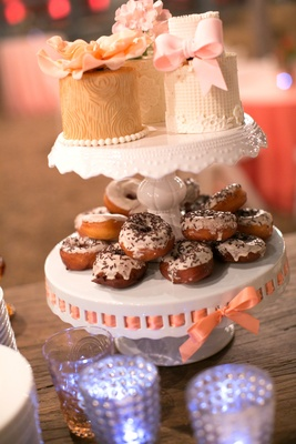 Doughnut wedding dessert with mini wood grain cakes