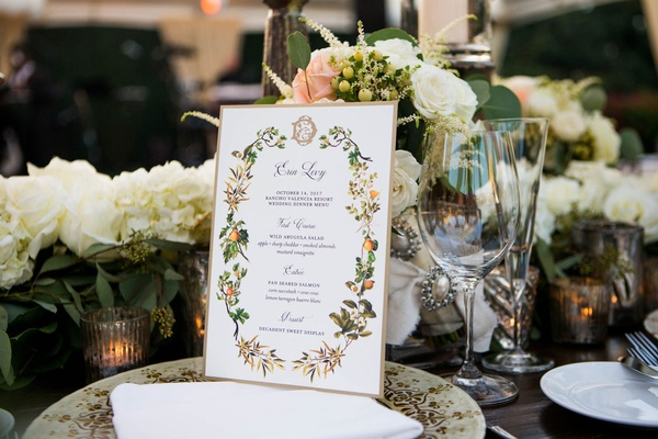 wedding reception menu card gold border monogram orange flower leaf motif white flowers china