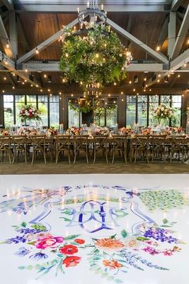wedding reception rustic elegant white dance floor with colorful monogram pink red orange purple