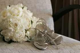 Peter Fox silver wedding heels with straps
