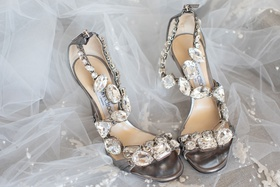 Karima Crystal 100mm Sandals, Gray Jimmy Choo shoes wedding inspiration shoot crystal details