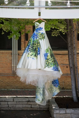 hand painted blue and green wedding ball gown romona keveza strapless