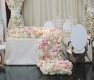 floral runner that spills onto floor white pink hydrangea, rose, peony, ranunculus flowers