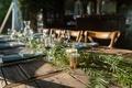 Echosmith singer Sydney Sierota and Cameron Quiseng wedding reception rustic reclaimed wood table