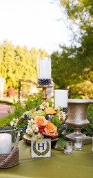 Candles and Floral Monogram Decor