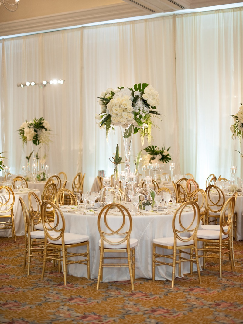 Reception Décor Photos - Gold-Backed Chairs at Round Tables - Inside ...
