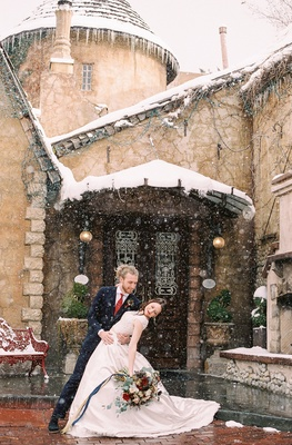 beauty beast movie styled wedding shoot french restaurant la caille utah snow fairy tale cottage