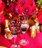 intricate burgandy and crystal glassware inspired by Disney's Belle