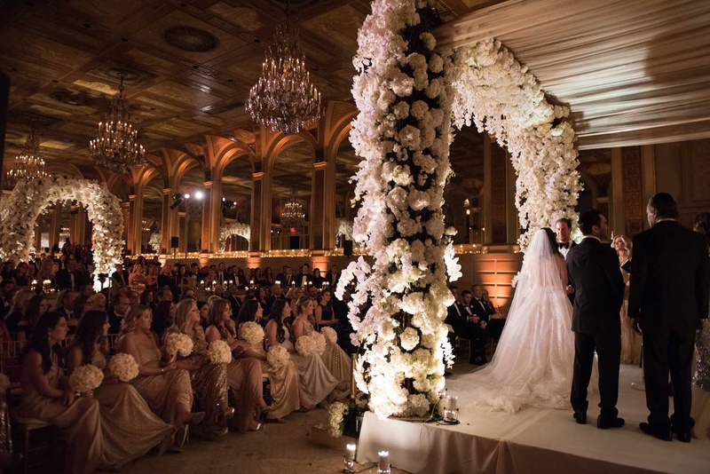 wedding ceremony white flowers stage rabbi the plaza hotel wedding ceremony