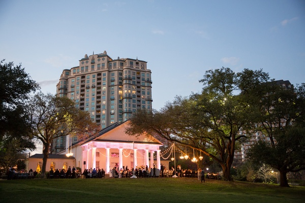 wedding at arlington hall at lee park, lighting outdoor wedding reception