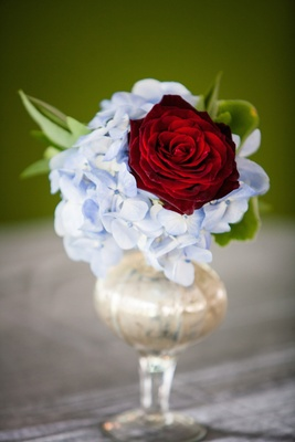 Small vase with light blue hydrangea and red rose