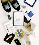 blue white gold invitation suite cute illustrations fashion drawings stamps modern shoes accessories