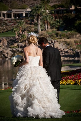 Oscar de la Renta wedding dress on golf course