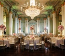 Biltmore Ballrooms wedding reception with gold chandelier