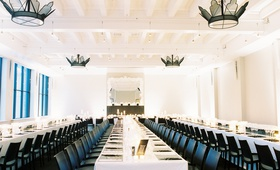 modern, chic black and white wedding reception black chairs, white linens,