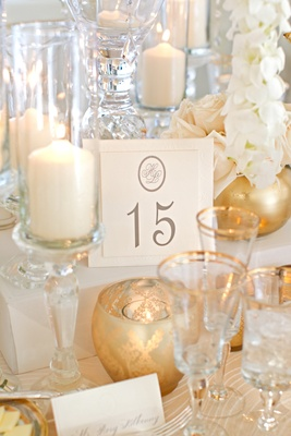 Ivory stationery with oval monogram and grey number