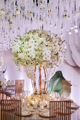 wedding reception flower print wallpaper hanging rose crystal ribbon white centerpiece gold chairs