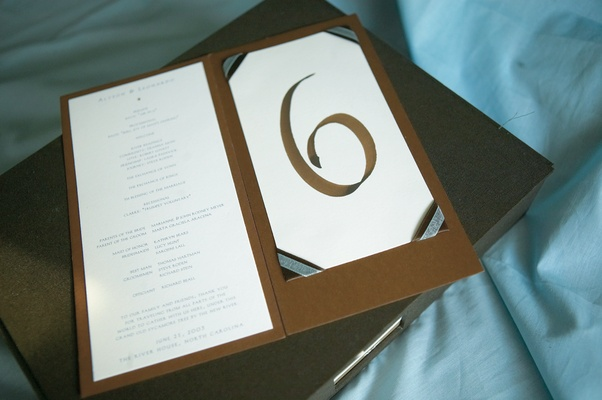 Brown and blue wedding stationery