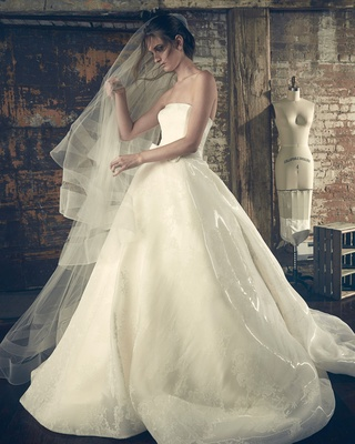 Sareh Nouri Fall 2018 wedding dress Elle ball gown straight across strapless neckline organza veil