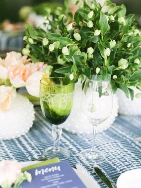 wedding event bridal shower glassware green goblet greenery centerpiece linen napkin menu card blue