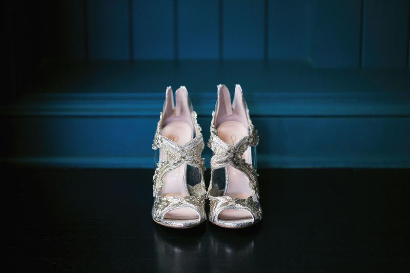 Oscar de la Renta Metallic Ambria Embroidered Peep Toe Sandals Pumps wedding heels shoe ideas