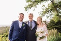 Bride and groom with father of groom at Berkeley wedding