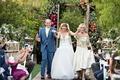 mother of bride gown drop waist badgley mischka father of bride in blue suit yellow tie outdoor
