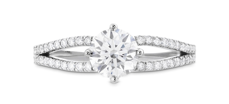 Hearts On Fire Brielle split shank diamond engagement ring with round center stone