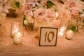 wedding table number gold calligraphy at blush and ivory reception tablescape