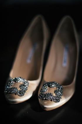 Crystal buckle on manolo blahnik nude pumps wedding shoes bride heels