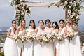 bride in strapless mira zwillinger wedding dress bridesmaid dresses mismatch white styles rustic