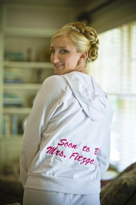 Custom bride hoodie with pink embroidery