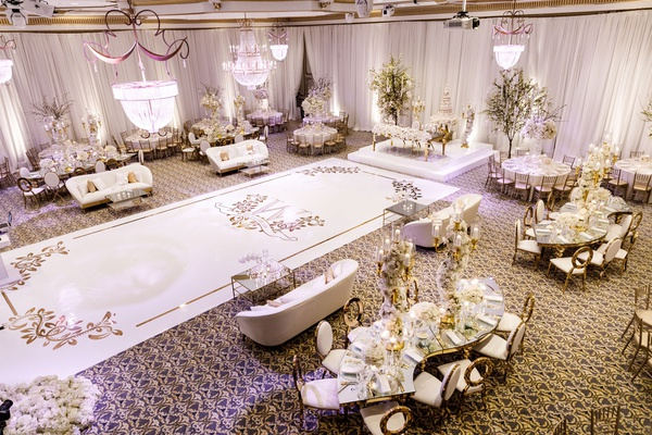 aerial view of ballroom reception nfl player tahir whitehead white gold decor dance floor sweetheart