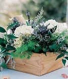 Rustic wedding decorations with natural flowers