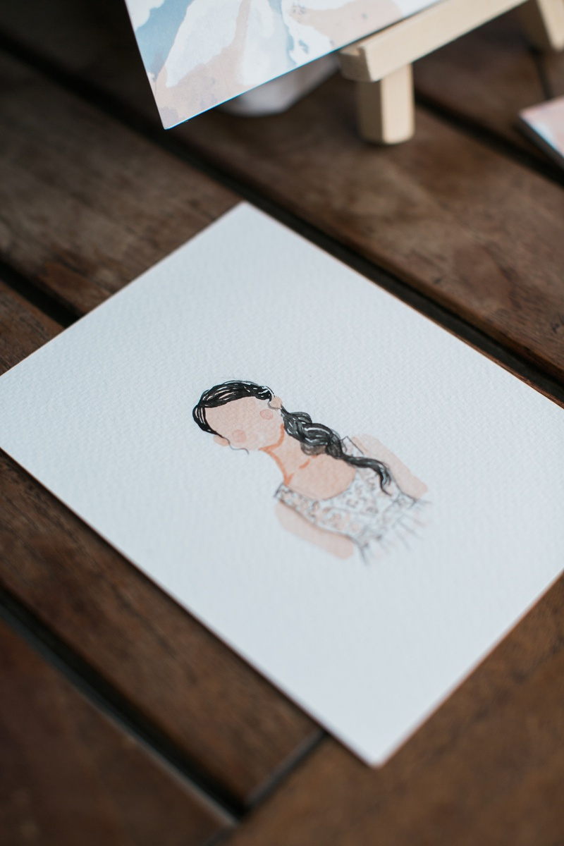 small watercolor portrait of bride at bridal shower, watercolor portrait bridal shower activity