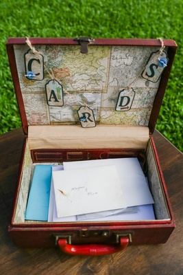 vintage suitcase lined with map as card box for travel themed wedding ceremony