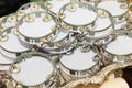 White tambourines with grey silver details for wedding reception entertainment
