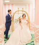 The Confused Millennial wedding shoot off shoulder blush gown navy groom suite the colony palm beach